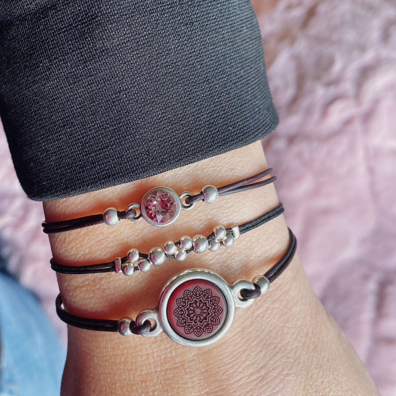 Armbanden set bordeaux