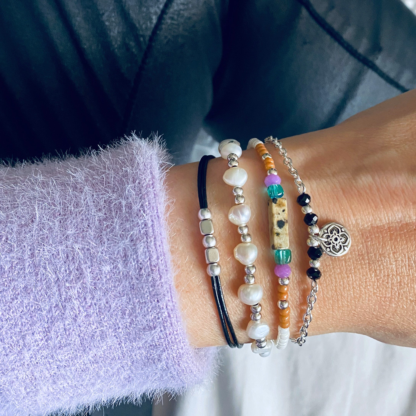 Armparty zwart & paars